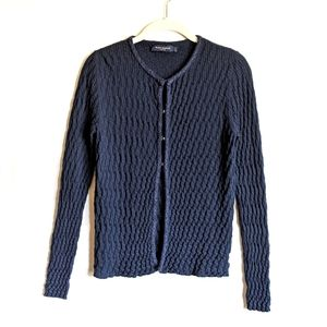 Piazza Sempione Pucker Knit Hook Closure Sweater